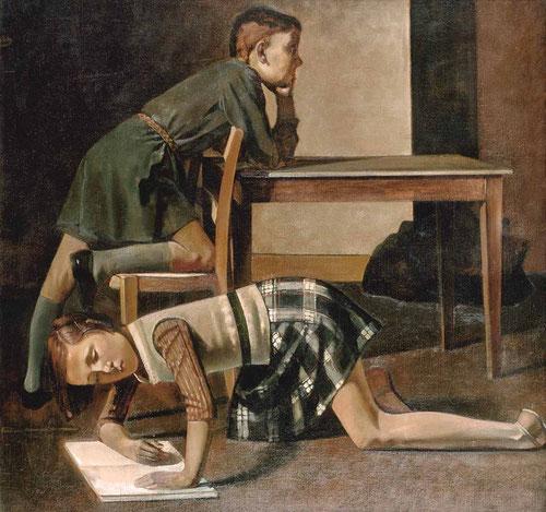 Balthus.Los niños Hubert y Thérèse Blanchard.Óleo sobre lienzo.125x130cm.Museo Nacional Picasso Paris. La reconstrucción gira en torno a la vida cotidiana.Claridad formal y fondos indeterminados.