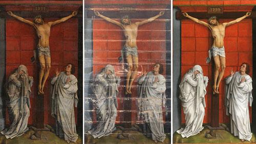 Van der Weyden pintó el Calvario los últimos años de su vida para la cartuja de Schuet,Bruselas.Tras años de proceso de restauración,se confirma su condición de obra maestra.