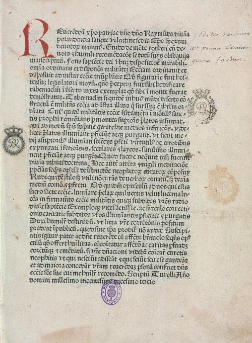 """""""Manipulus Curatorum"""" escrito en 1313 por Guido de Monte Rochen, destinado a párrocos noveles con el fin de enseñarles a través de pastorales los sacramentos, especialmente la confesión, eucaristía y matrimonio."""