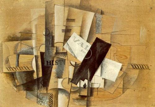 George Braque.Velador 1913.Tuvo una primera adscripción cubista, creció en Le Havre, familia de artesanos,estudió los contornos de Cézanne,introdujo textos por primera vez en sus collages,existen dos fases en su etapa cubista la última,cubismo sintético.