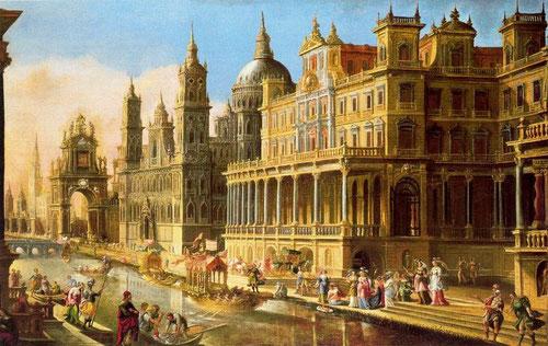 Francisco Gutierrez Cabello. Capricho arquitectónico con Moisés salvado de las Aguas.1655.Museo de Bellas Artes de Bilbao.
