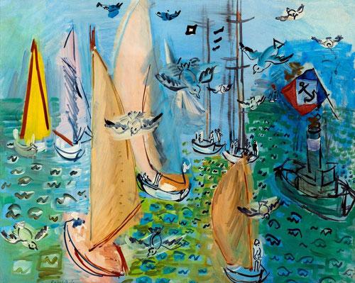 Raoul Dufy muestra su habilidad al pintar a vista de pájaro esta Regatas y gaviotas en 1930.Un óleo sobre lienzo del Museo de Arte Moderno de la Villa de París.