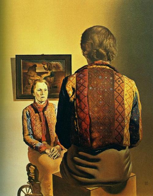 El Ángelus de Gala,1935,Mantiene una relación más enigmática con el cuadro colgado en la pared..La mirada que lanza Gala a su doble de espaldas, parece  rezar con las manos unidas sobre su falda.