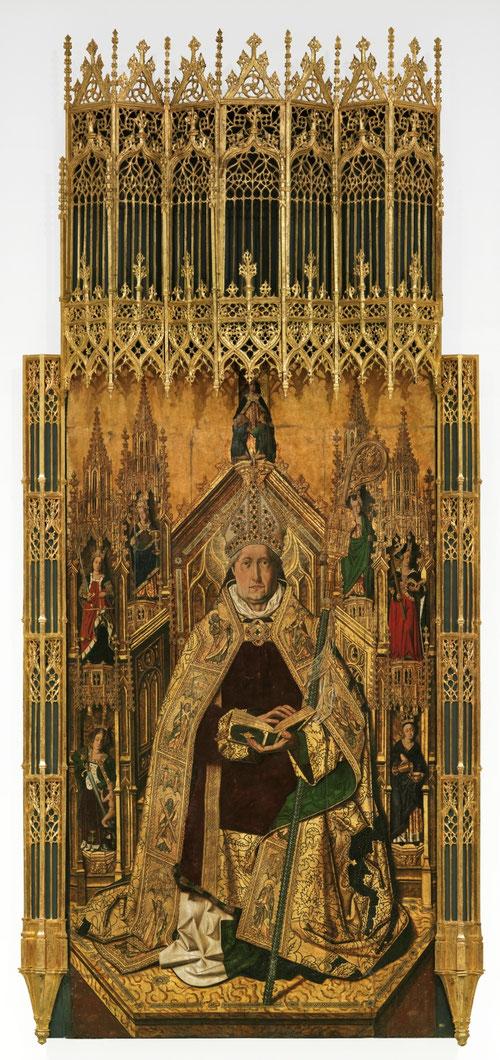 Santo Domingo de Silos entronizado como obispo.1474-79.Óleo sobre tabla de pino,242x130cm.Museo del Prado,Madrid.Una de sus obras emblemáticas para la Iglesia de Daroca,que por no finalizarla a tiempo tuvo un proceso de excomunión,finalizado por Bernat.