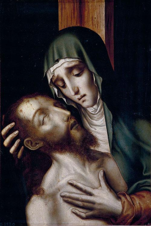 La Piedad 1565-70.Óleo sobre tabla de nogal,42x30cm.MPrado.Cristo en brazos de la Virgen,conocida tambien como la Quinta Angustia,un realismo gótico-flamenco,con especial expresividad para el dolor.Belleza meditada y exquisita para despertar al devoto.