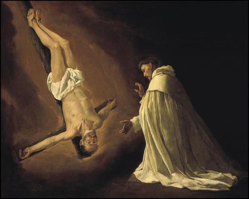 Francisco Zurbarán.Aparición de san Pedro a san Pedro Nolasco 1629.Óleo sobre lienzo 179x223cm.Museo del Prado Madrid.