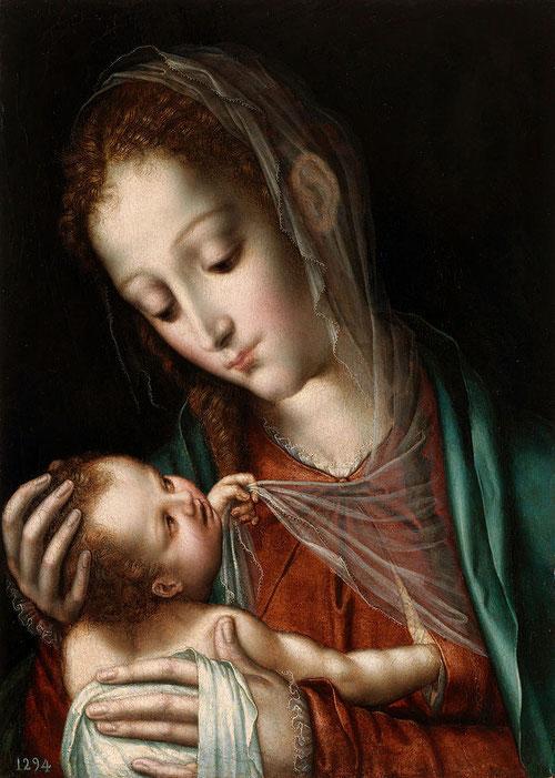 La Virgen de la leche 1560-65- Museo del Prado,tabla de roble 38x28cm ,iconografía que se remonta a los iconos marianos de tradición bizantina.Suaves trasparencias y detalles sutiles de quien busca el consuelo materno.