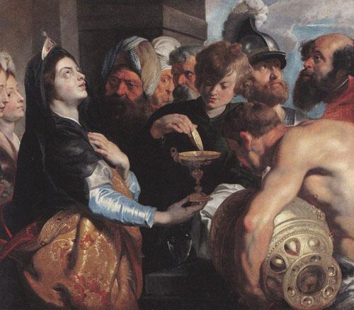 Artemisa Gérard Seghers1591-1651/119x145cmUna joven vestida con ricos bordados reclama la atencióa mirando a los alto,implorando a los dioses.Un clima inquietante donde Artemisa bebe las cenizas de su esposo Mausolo..cuerpos en tensión,dramático desenlace