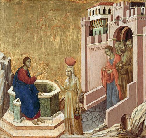 Duccio di Buoninsegna. Cristo y la samaritana, 1310-11.Temple y oro sobre tabla.Museo Thyssen. Esta obra formó parte del altar de la Maestá del Duomo de Siena.