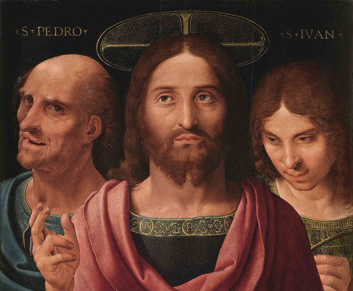 """Yañez de la Almedina.""""Salvator Mundi entre San pedro y San Juan"""" Aparece Cristo como Salvator Mundi,el nimbo crucíforo sobre su cabeza y las letras doradas en el borde de su túnica refuerzan esta iconografía."""