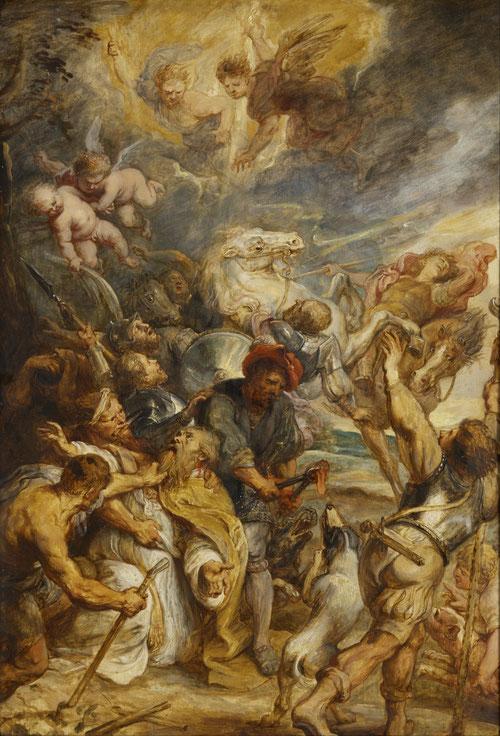 El martirio de S. Livino 1633.Óleo sobre tabla 84x59cm.Róterdam Museum Boijmans.Para ls jesuitas de Gante 1633 fue un año de conmemoración del milenario de la supuesta llegada a Flandes del obispo irlandés Livino.Le arrancaron la lengua,Dios lanza un rayo