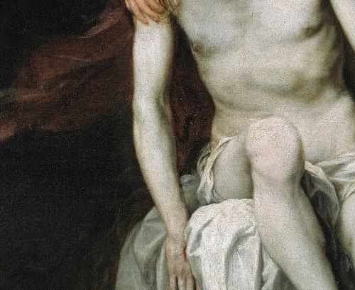 El cuerpo de Cristo de belleza clásica rehúye del drama y se recrea en el desnudo, tema favorito, en el que apenas queda resto de sangre.Proporciones de belleza clásica.