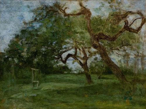 """Eugène Boudin.Patio de granja,viejos manzanos 1853.Óleo sobre tabla.32x42cm.Musée d´Art Moderne André Malraux,El Havre. En su """"búsqueda sencilla de la naturaleza, una vegetación umbría de la costa normanda sustituyen los manzanos a los robles."""