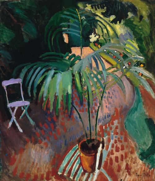 """Esta"""" pequeña palmera"""" 1907,col.Thyssen simboliza el lugar propio de la privacidad doméstica con extensa luz externa y pincelada magenta yuxtapuesta, recuerda al neoimpresionismo.Destaca la utilización del negro, desterrado en el fauve."""
