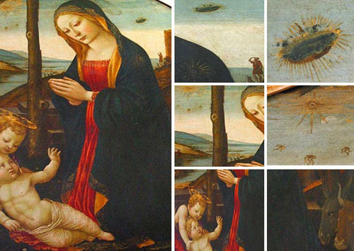 Cuadro de Filippo Lippi La Virgen con Juan Bautista y Niño aparece un objeto similar.