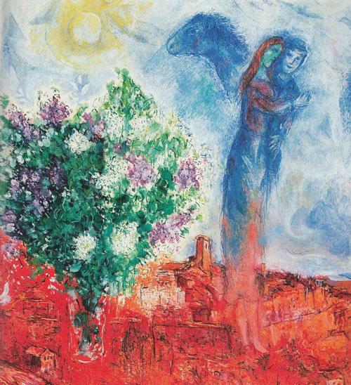 Pareja sobre Sain-Paul, 1970-71. Óleo sobre lienzo, colección privada. Marc Chagall cultivó durante 80 años un arte inspirado en el amor, recuerdos y tradiciones judías.