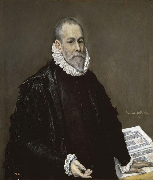 El Greco.Retrato de un médico.Óleo sobre lienzo.96x82cm.Museo del Prado Madrid. La similitud que se observa entre los retratos españoles y holandeses demuestra el poder de la Monarquía española y su gusto por el negro en la burguesia y clases de élite.