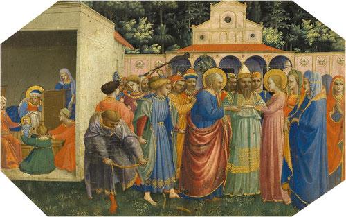 1 Matrimonio de María y José haciendo alusión a la descendencia del rey David.Temple al huevo,plata y oro labrado sobre tabla d chopo