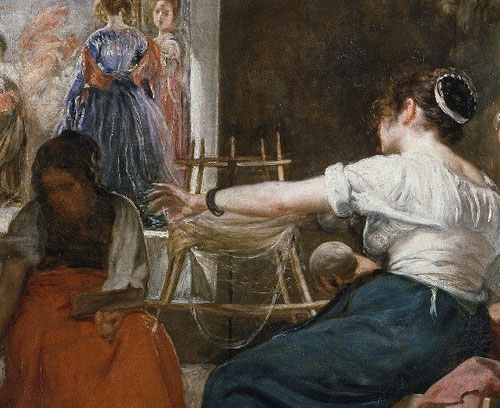 Velázquez, Las Hilanderas o Fábula de Aracne.1657.El motivo fundamental del cuadro es la escena mitológica del fondo, mientras una representación veraz de hilanderas de la Real Fábrica de Tapices de Sta Isabel en primer plano,contemplan afanadas la escena