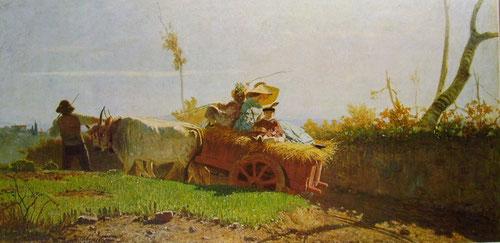 V.Cabianca. Regreso de los campos.1862.Óleo sobre lienzo.75x51cm. Bottega d ´Arte Livorno.
