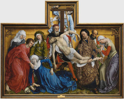 El Descendimiento, antes de 1443,óleo sobre tabla de roble.220x259cm.En la cruz,IHXP-En el cinturón de Magdalena IESUS MARIA.Intensidad expresiva y munucioso detalle.Nunca diez personajes cobraron vida en este abrumador encuentro con el dolor.