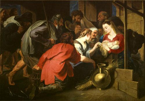 La adoración de los pastores.Van Dyck.Óleo sobre lienzo155X232cm.Potsdam.Una de sus obras tempranas, composición dinámica gracias a dos pastores.La mujer rubia ofrece un huevo al Niño, símbolo de Resurrección.