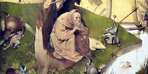Tentaciones de San Antonio Abad 1510, ahogado en la composición,a escala reducida, nada parece alejarle de su meditación,redeado de monstruos.Traduce el embudo, muy utilizado en sus obras para simbolizar el demonio con cabeza de ave.