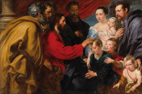 Van Dyck.Dejad que los niños se acerquen a mi.Óleo sobre lienzo.131X198cm,Otawa,Natinal Gallery of Canadá...Pasaje narrado evangelio Mt 19,Mc10,Lc18, pero poco representado en el arte occidental. Cristo de perfil bendice a una familia al completo.