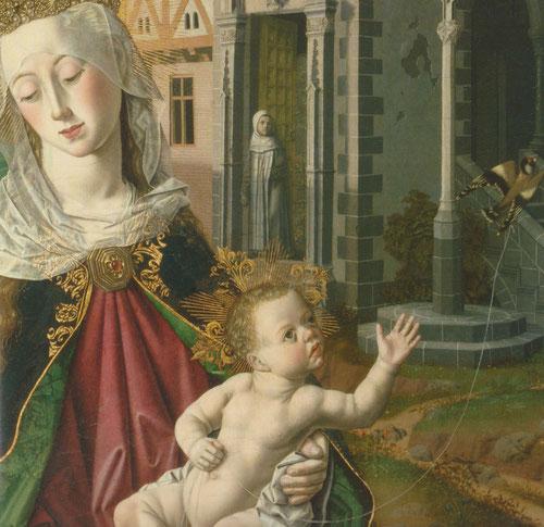 La Virgen,con rica corona como Reina de los Cielos,sujeta al Niño en su regazo,quien sostiene una liviana cuerda a un jilguero,símbolo del alma humana retenida por el hilo de la vida terrenal,o tal vez evoca la imagen del nido como metáfora del monasterio
