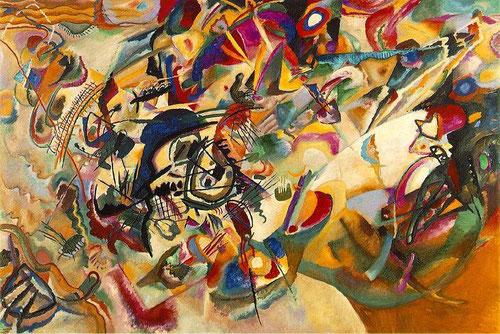 Composición VII,tal vez la obra más compleja de Kandinsky,su pintura abstracta culmina en esta composición de 1913.Ekaterina Selezneva señala que parte de temas bíblicos como el diluvio,el juicio final o la resurrección como metáforeas de la renovación.