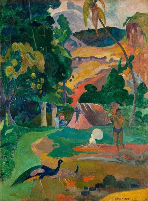 P. Gauguin. Matamoe. Muerte.Paisaje con pavos reales. 1892.  Pushkin Museum, Moscú. Escenas de una sencilla vida doméstica, con la fuerza y la energía del hombre primitivo.
