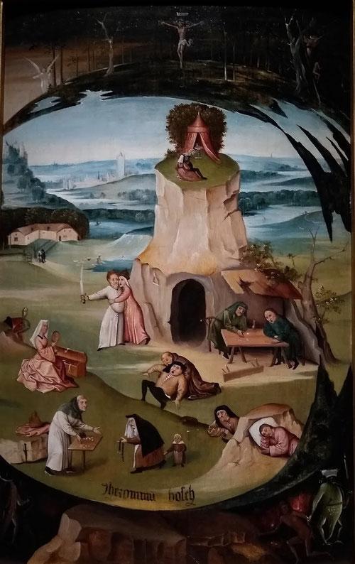 """Jheronimus van Aken, el Bosco.Hacia 1500-1510.Los siete pecados capitales.Óleo sobre tabla.86x56cm.El autor con visión pedagógica domina la iconografía religiosa y recuerda a su """"Ojo que todo lo ve¨ de la tabla del Prado.La avaricia del ser humano y moral"""