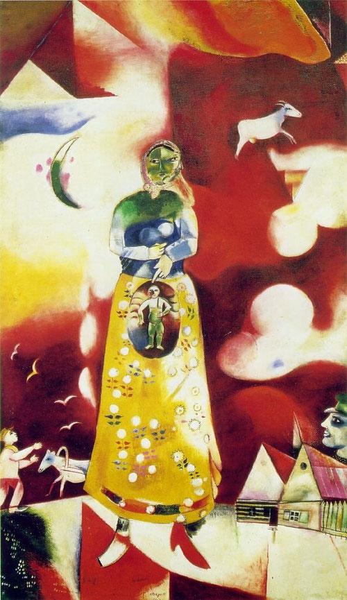 """Maternidad.1913.Collection Stedelijk Museum,Amsterdam.Esta reserva creativa de Chagall imprime siempre un cálido soplo de esperanza,basado en la sinceridad:Si he hecho estos cuadros es porque recuerdo a mi madre,sus pechos que me nutrieron cálidamente"""""""