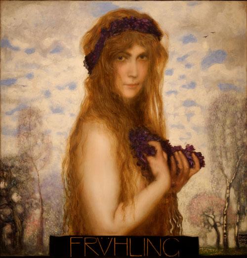 Franz von Stuck.La primavera 1902..Renovada interpretación de temas tradicionales con tendencias simbolistas personificado en un mundo imaginario.Cautivadores ojos demoniacamente negros fijos en el espectador. Impresiona esta mujer seductora.