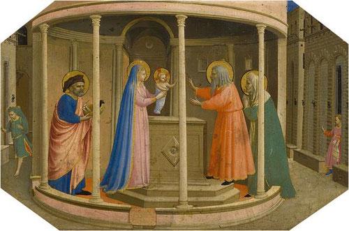 4-Presentación de Jesús en el templo.Temple al huevo, plata y oro labrado sobre tabla de chopo.