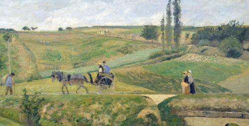 Sendero transversal, siempre emblemático camino a través de campos con sentido narrativo..de frente o de perfil..hombres y mujeres caminan. Museo DÓrsay,Camino Ennery 1874.