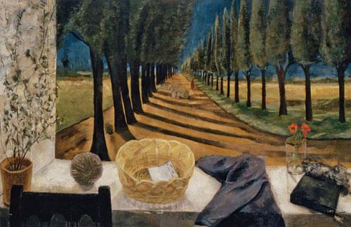 Esperanza Parada.Despues de misa,1959.Óleo sobre lienzo.65x100cm.Colección López Parada.Los objetos interpuestos frenen la mirada del espectador y desvían la atención a la hilera de cipreses