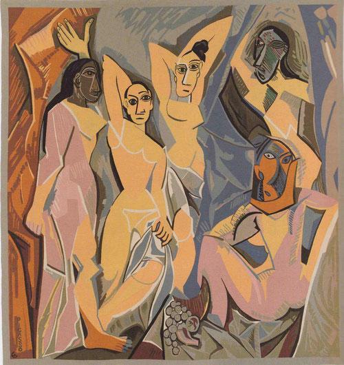 Los primeros que contemplaros Les Demoiselles d´Avignon en el Bateau-Lavoir 1907 se sintieron escandalizados. Nadie había tratado al cuerpo de la mujer tan despiadadamente.Tapiz de lana 272x255cm.Fundación Almine y Bernard Ruiz-Picasso.
