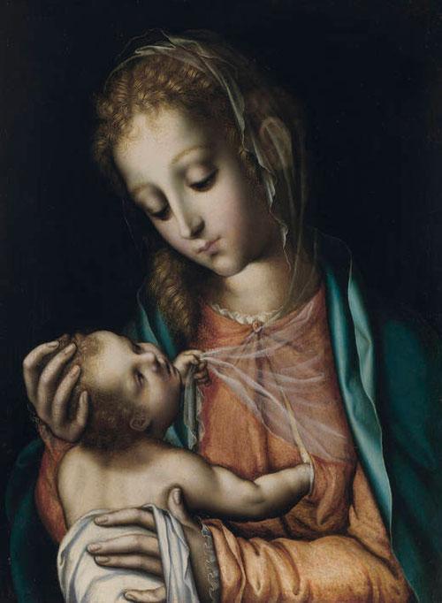 Luis Morales(Badajoz 1510-1586).Virgen con Niño,1565.Óleo sobre tabla,38x28cm!!!!