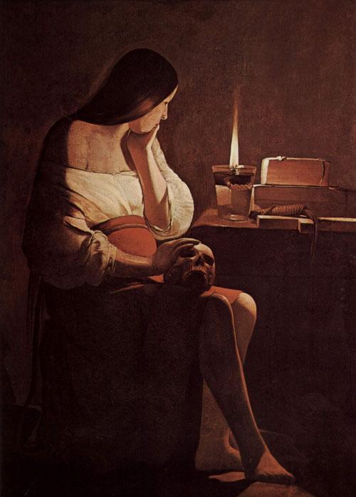 Magdalena penitente.Óleo sobre lienzo.117x91cm.Los Angeles Museum of Art.Arrepentida,ocupa  lugar privilegiado en la obra de la Tour,presentó 4 versiones. Mujer que lava los pies de Jesús en los evangelios,sentada en una mesa contempla la llama encendida.