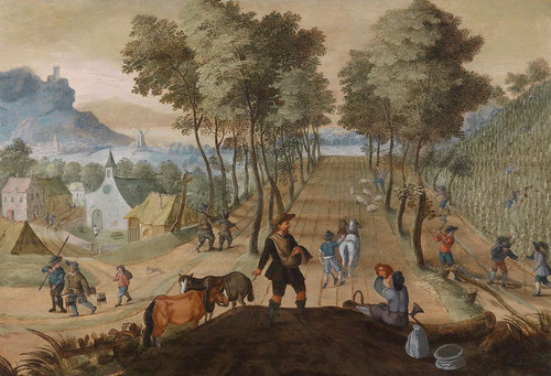 Sebastian Vrancx.Amplio paisaje con agricultores ocupándose del campo.1620-25.Óleo sobre tabla.66x97cm.Colección privada.