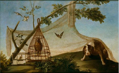 Caza con reclamo. Detalle. Goya,1775.Museo del Prado. El perro observa impávido al mochuelo y jilguero, una trampa bien calculada.El mochuelo simboliza el triunfo alcanzado a través de la paciencia y el sufrimiento.