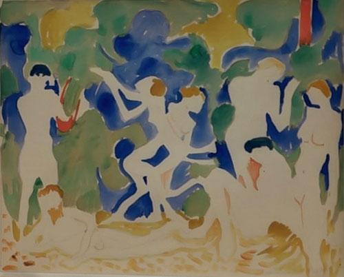 Andrée Derain.Musique 1904.Colección particular. Al final los fauves se bifurcan en sus propios caminos, Derain tiende a lo primitivo a arcádico, como Matisse, acentuando lo escultórico en detrimento de la planitud.