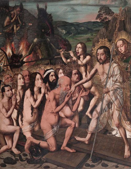 Escenas del Cristo Redentor 1470-1780.Descenso de Cristo al limbo.Óleo sobre tabla de conífera.88x69cm.Museo Nacional de Arte de Cataluña.A la decha.escoltado por un ángel Xto pisotea la puertas del infierno,aplastando a demonios draconiformes.