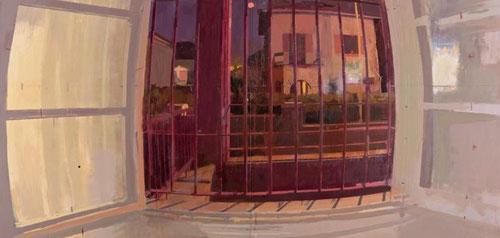 """Detalle de Antonio López, la Noche donde una violenta perspectiva curvilíne o de """"ojo de pez"""" a través de una ventana enrejada crea luces y sombras artificiales creando un fuerte contraste expresivo y misterioso.Óleo inacabado, según el autor en estudio."""