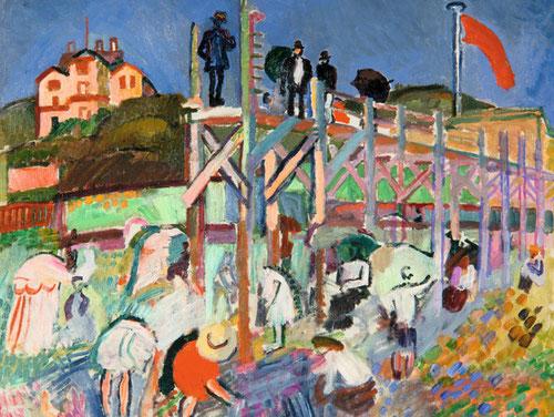 Raoul Dufy.Plataforma marítima del Casino de Marie Christine, Saint Adresse 1906.Milwaukee Art Museum.Aborda el paisaje francés como una tradición pictórica,que da testimonio de la imagen cultural de Francia.