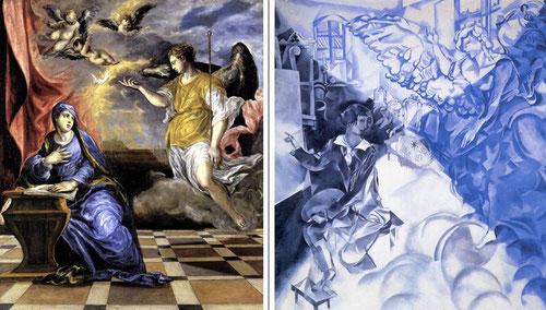 Chagall estaba comprometido con el mundo hebreo y relacionaba la concepción espiritualista del arte.La postura del artista es un trasunto de la Virgen y las alas de la musa con el ángel de la Anunciación del Greco en el Thyssen.