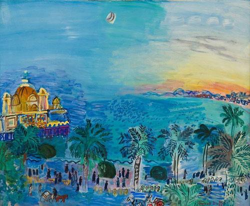 Raoul Dufy,Niza,Camino viejo,1927-28.Óleo sobre lienzo.60x73cm.Suiza Colección privada.Virtuosismo y proeza en la composición que resume casi cartográficamente una representación a vista de pájaro que destacan los monumentos-icono de Niza sobre fondo azul