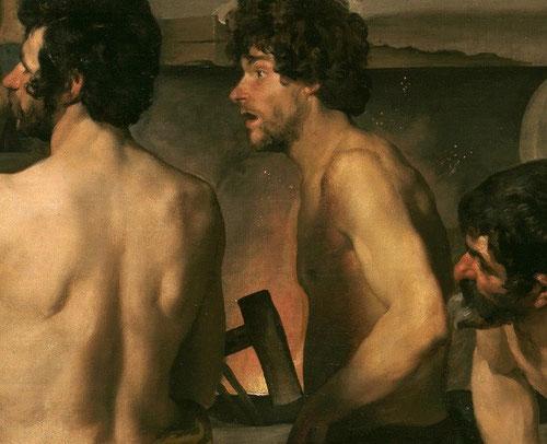 Velázquez,detalle de la Fragua de Vulcano,1630.Presente la enseñanza de su etapa romana y gran clasicismo,repertorio increíble de gestos y expresiones incrédulas..Naturaleza muerta en hierro y armaduras y la luz moldea la anatomia.