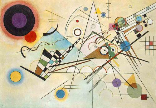 """Composición VIII.Kandinsky 19231,40cmx200cm.Museo Guggenheim de Nueva York. Su evolución hacia una abstracción más geométrica, refleja como el cosmos nace técnicamente por una catastofe,con lo que """"la creación de la obra es la creación del mundo"""""""